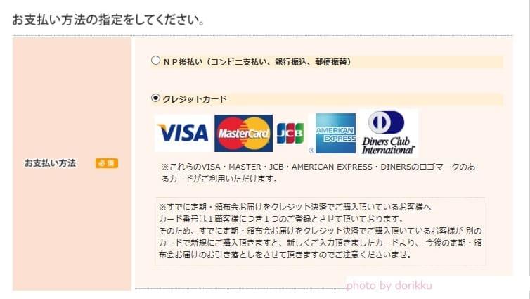 プチノンを最短で購入する カード選択